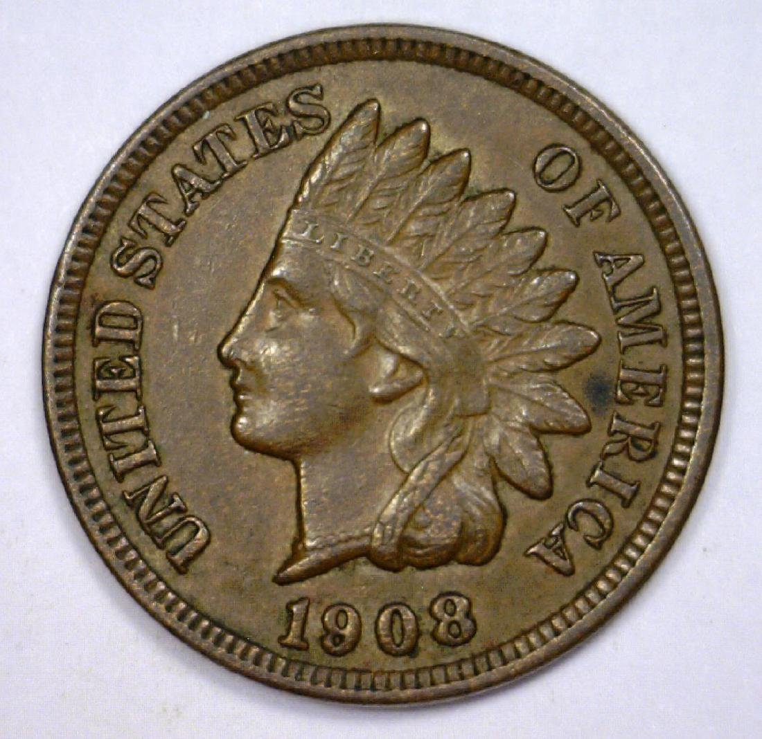 1908 Indian Head Cent About Uncirculated AU+