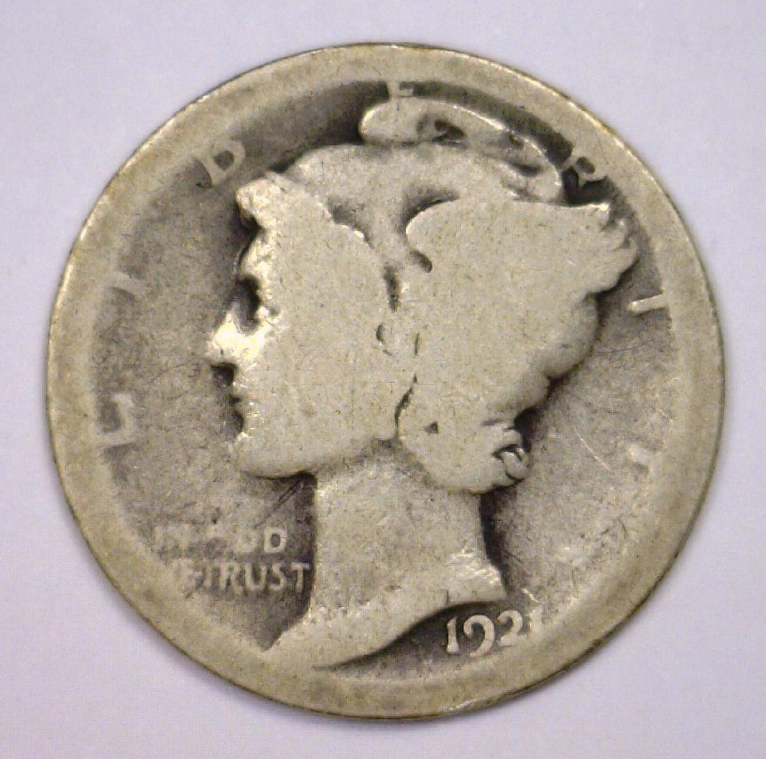 1921 Mercury Silver Dime KEY Date About Good AG