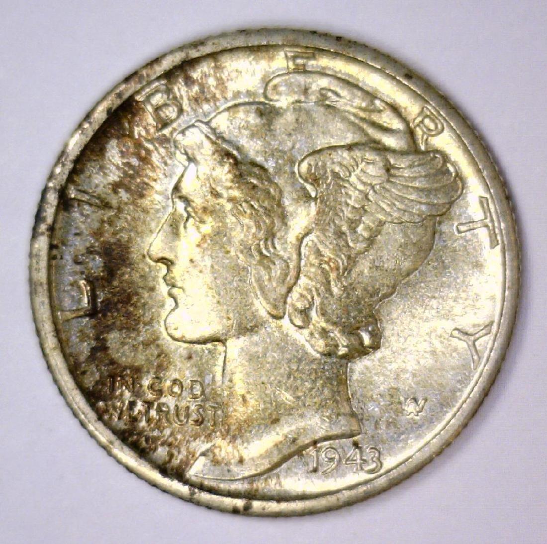 1943-D Mercury Silver Dime Uncirculated BU
