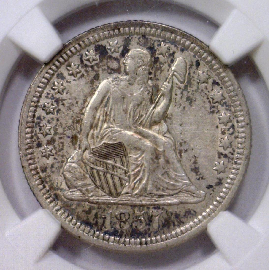 1857 Seated Liberty Silver Quarter 25c NGC AU53