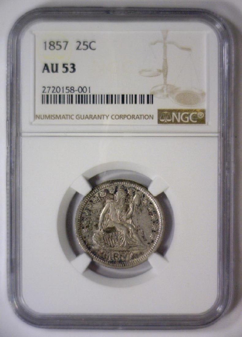 1857 Seated Liberty Silver Quarter 25c NGC AU53 - 3