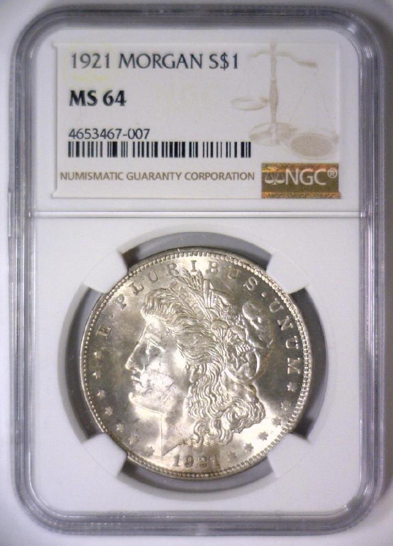1921 Morgan Silver Dollar NGC MS64