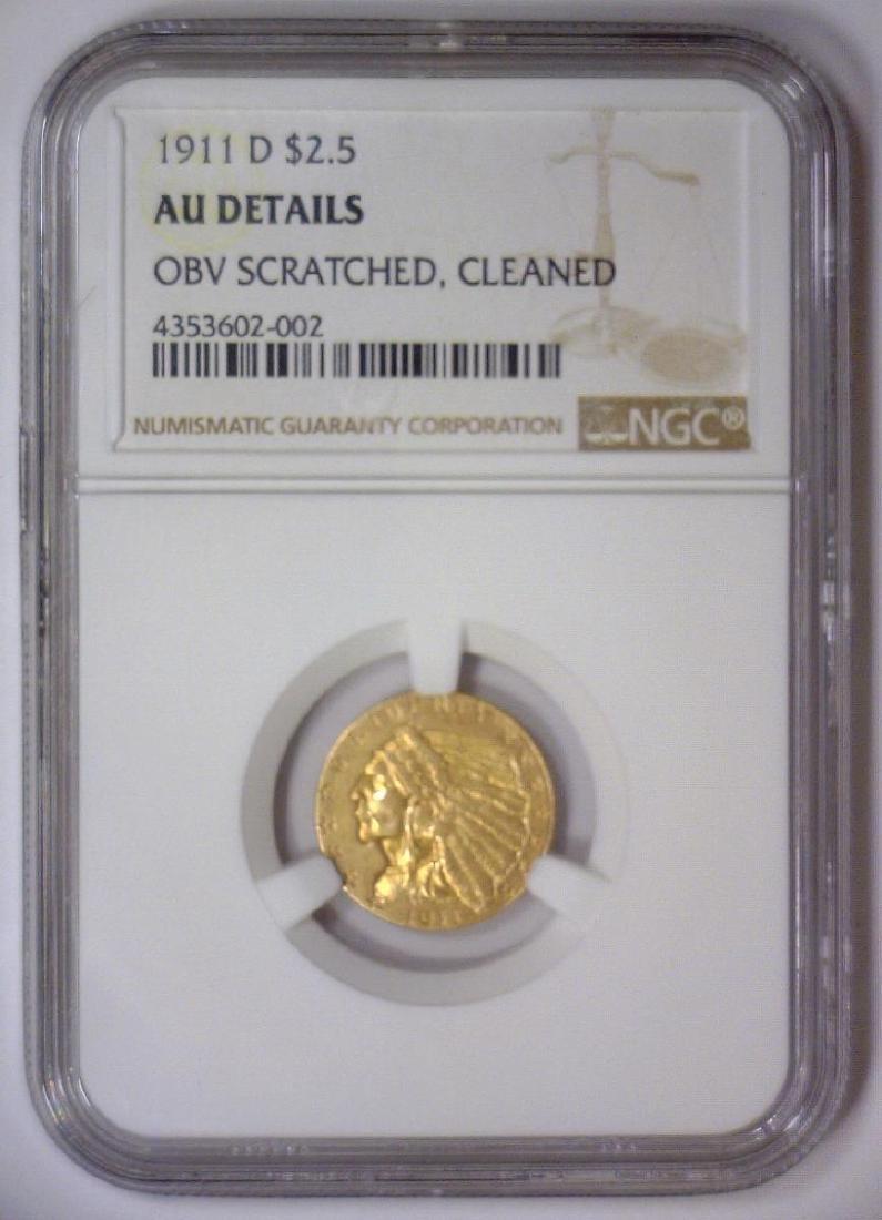 1911-D $2.5 Indian Gold Quarter Eagle NGC AU Det. - 2
