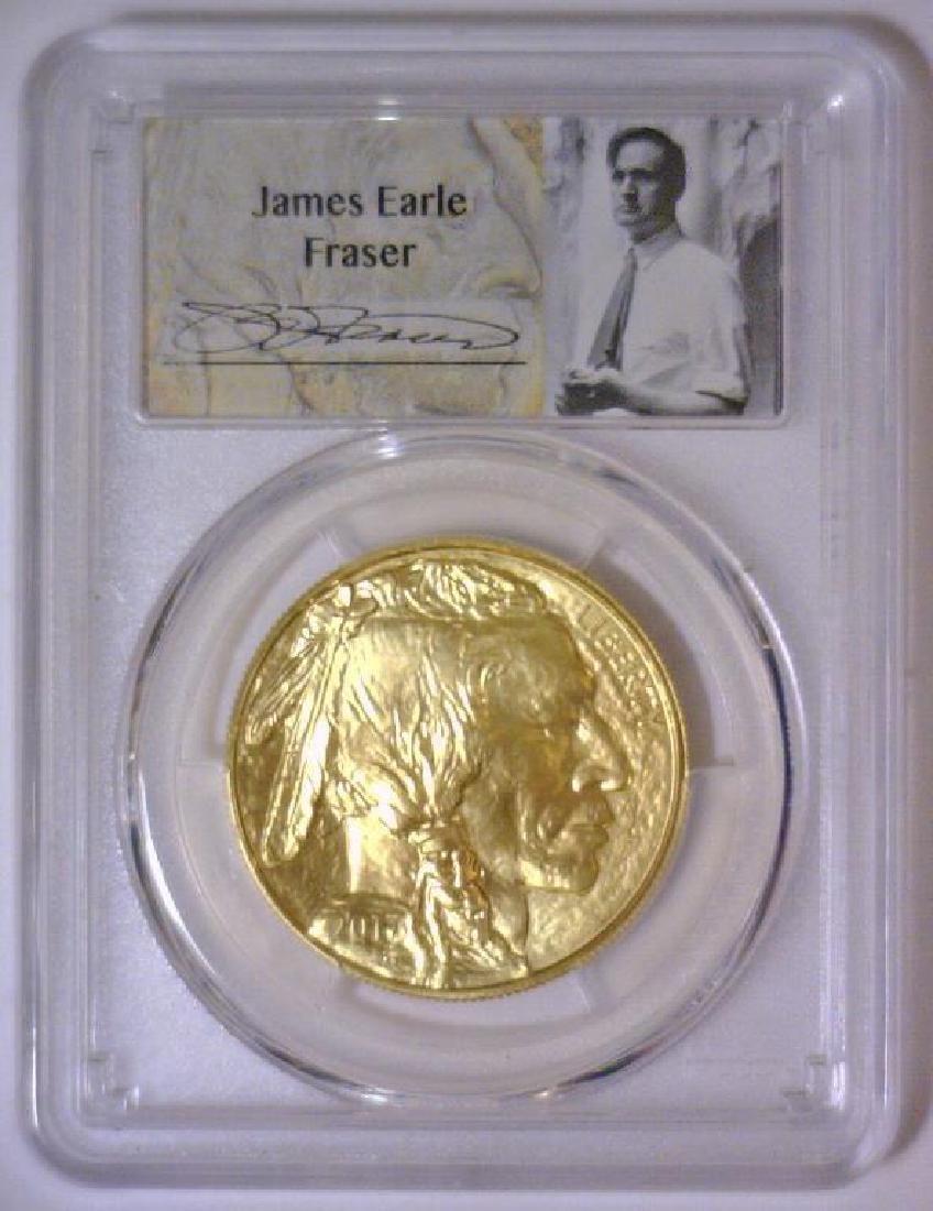 2017 $50 Gold Buffalo James Fraser Label PCGS MS70