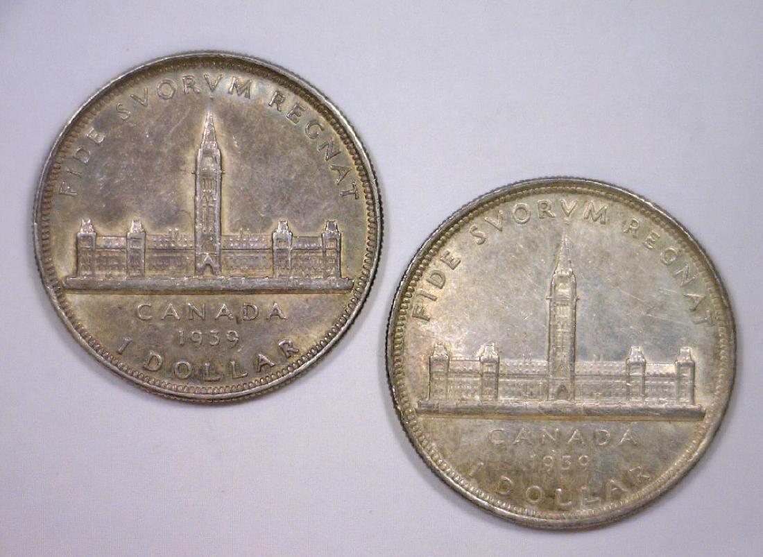 Pair of 1939 Canada Silver $1 Commemoratives AU