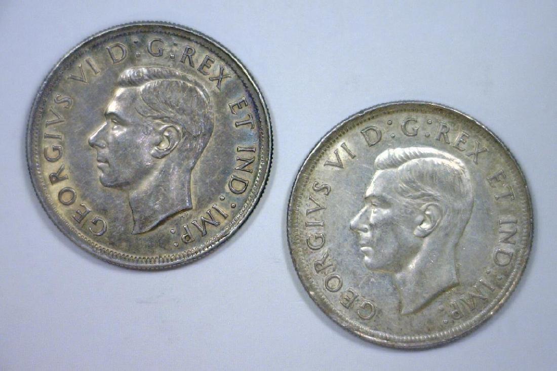 Pair of 1939 Canada Silver $1 Commemoratives AU - 2