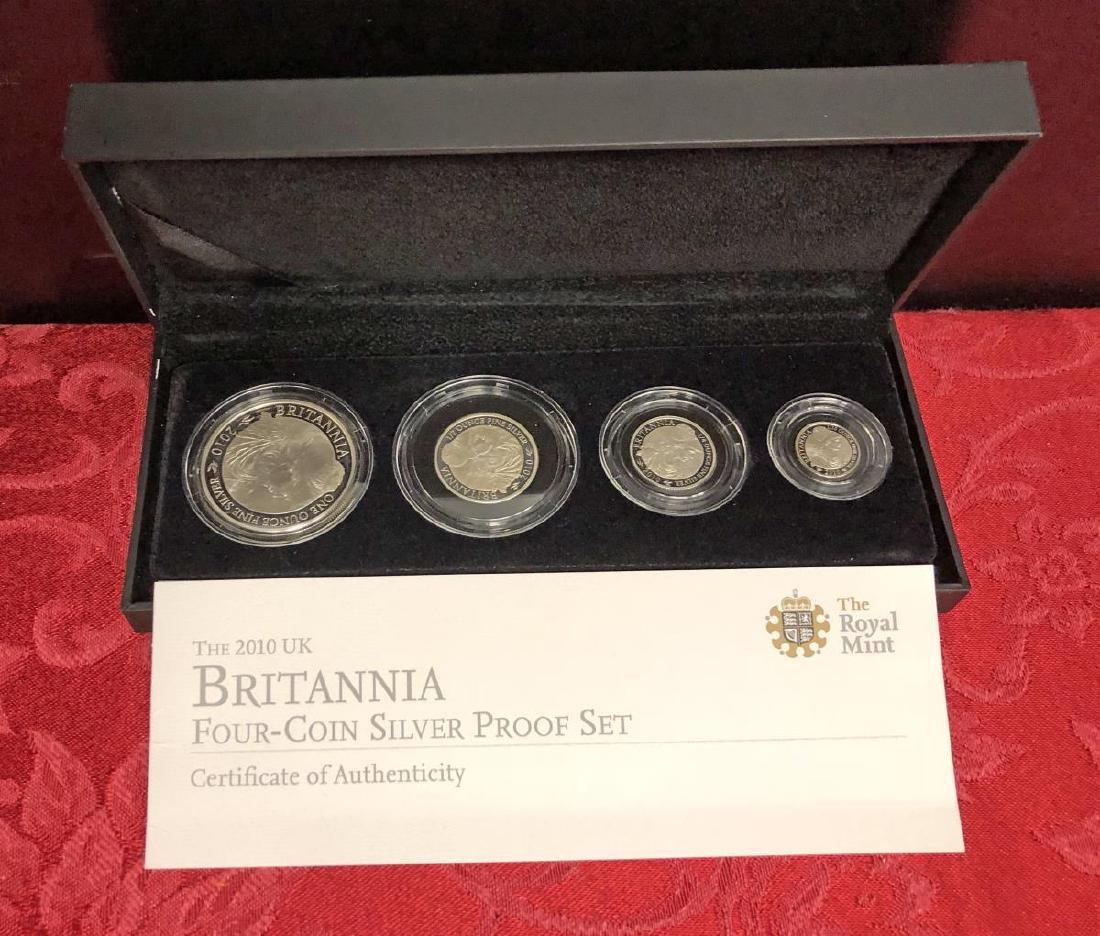2010 Britain UK Britannia 4-Coin Silver Proof Set