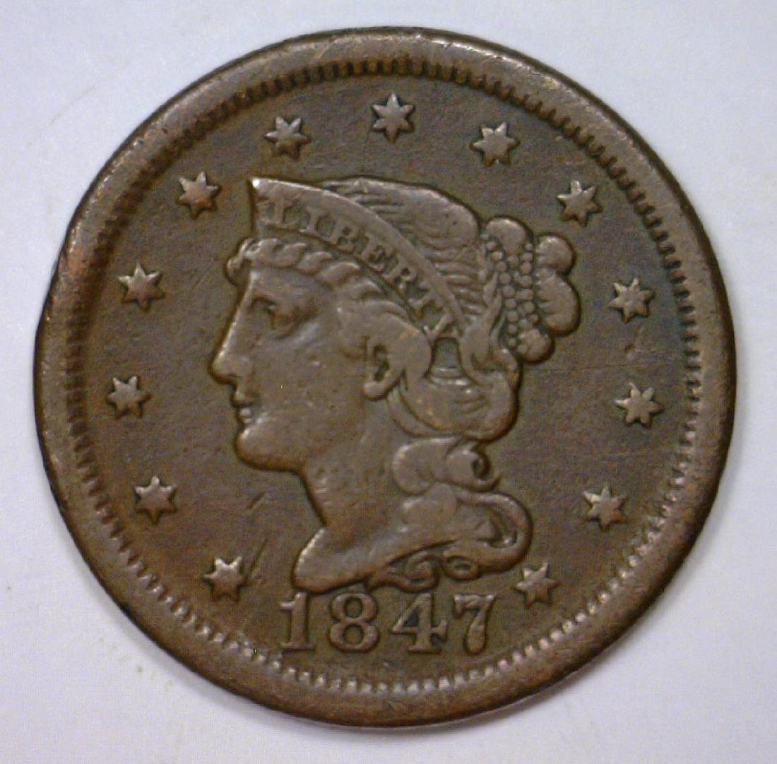 1847 Braided Hair Large Cent Very Fine VF