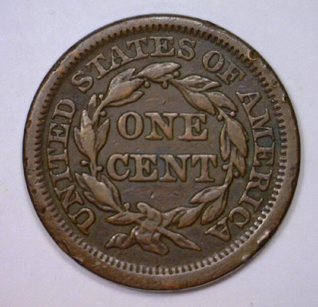 1847 Braided Hair Large Cent Very Fine VF - 2