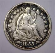 1855 Seated Liberty Silver Half Dime w/Arrows VF