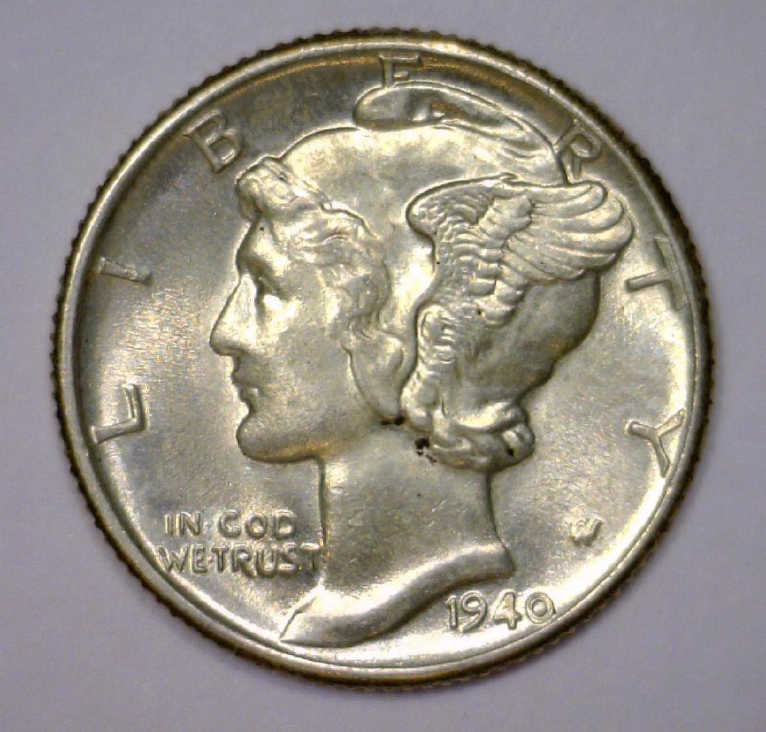 1940 Mercury Silver Dime Uncirculated BU