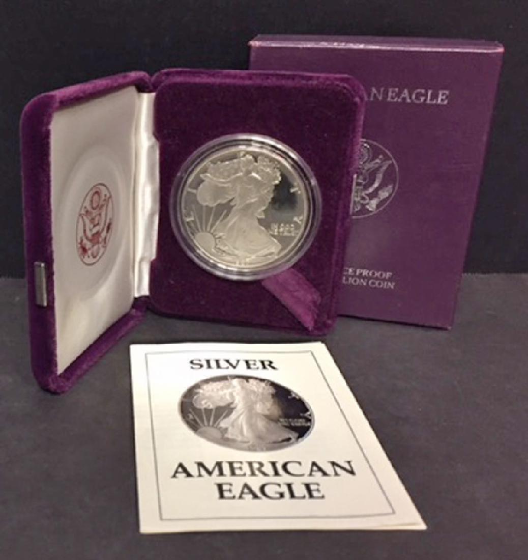 1987 Silver American Proof Eagle with Box & COA