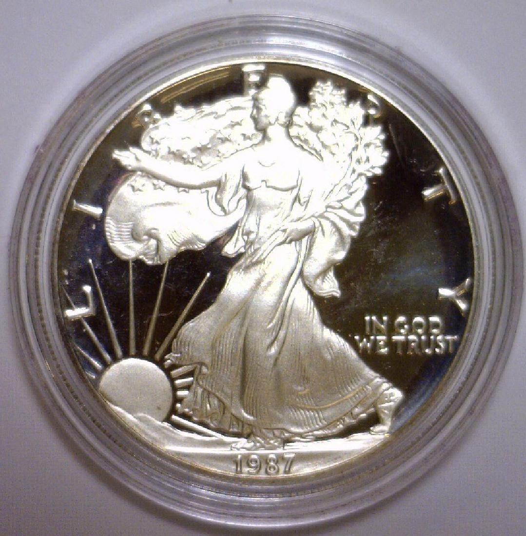 1987 Silver American Proof Eagle with Box & COA - 2