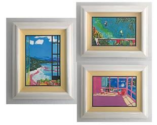 Jonna White Giclee Canvas Signed Framed Print Trio