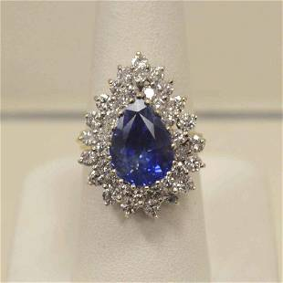 18kt yellow gold sapphire and diamond ring