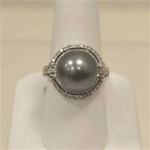 14kt white gold Tahitian pearl and diamond ring