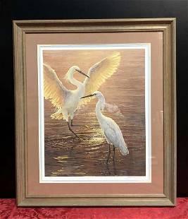 Evening Duet Snowy Egrets SN Print SeereyLester