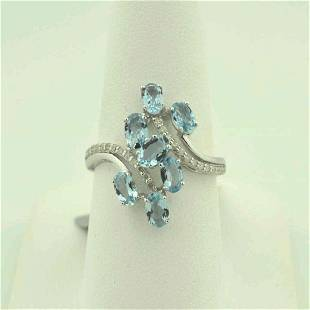 14kt white gold aquamarine and diamond ring