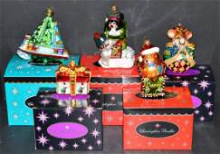 5 Christopher Radko Christmas Ornaments with Boxes