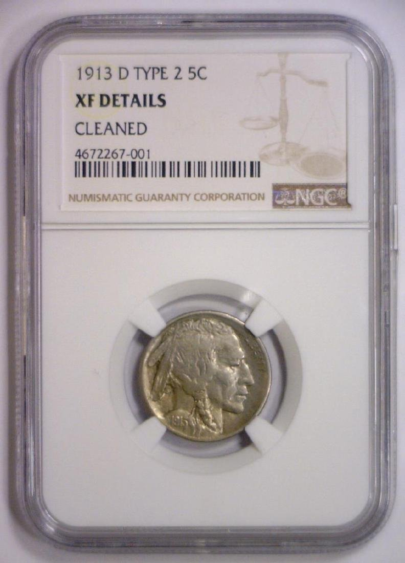 1913-D Buffalo Nickel Type 2 NGC XF details clnd - 2