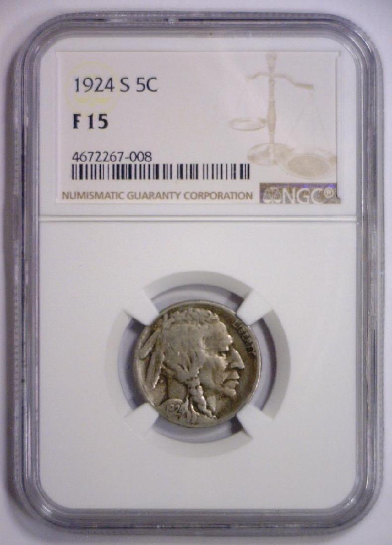 1924-S Buffalo Nickel Better Date Fine NGC F15 - 2