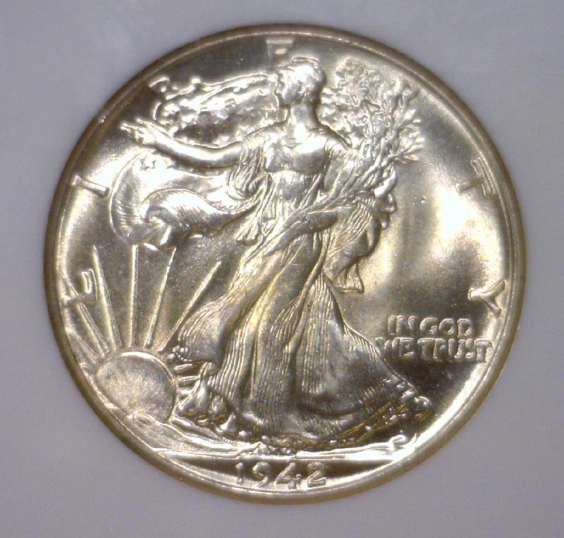 1942 Walking Liberty Silver Half Gem BU NGC MS65