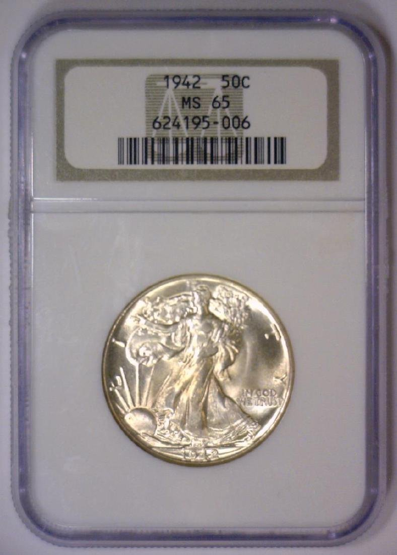 1942 Walking Liberty Silver Half Gem BU NGC MS65 - 2
