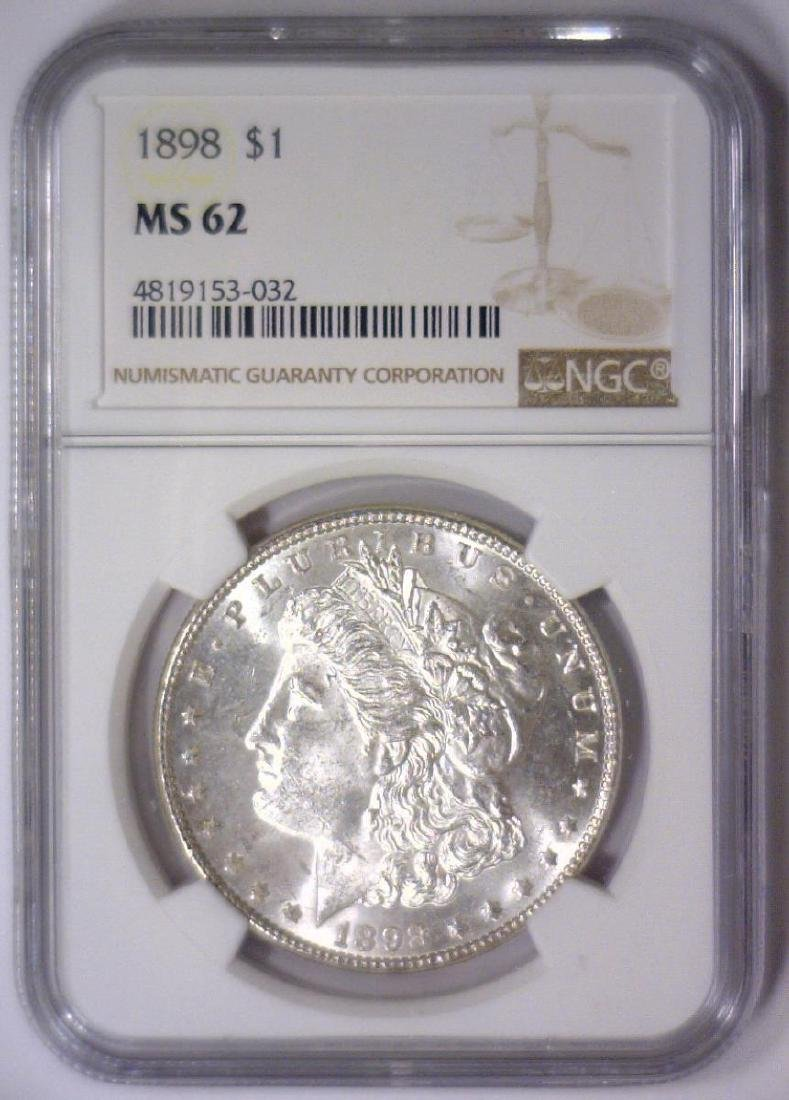 1898 Morgan Silver Dollar NGC MS62 - 2