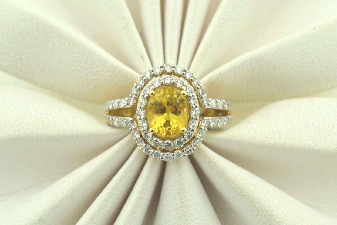 18kt yellow gold yellow sapphire ring - 5