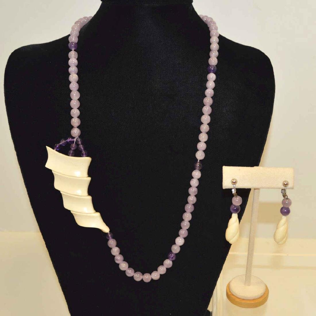 Amethyst and Ivory necklace and earrings