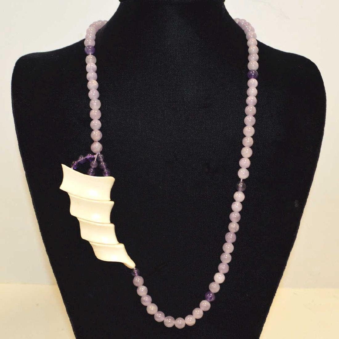 Amethyst and Ivory necklace and earrings - 2
