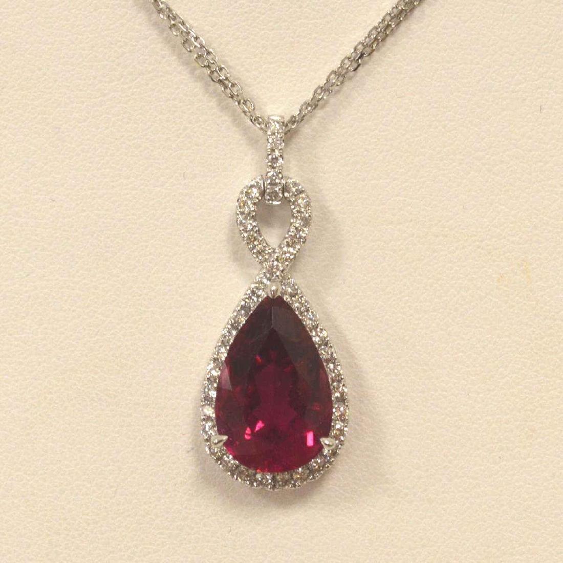 18kt white gold tourmaline and diamond pendant