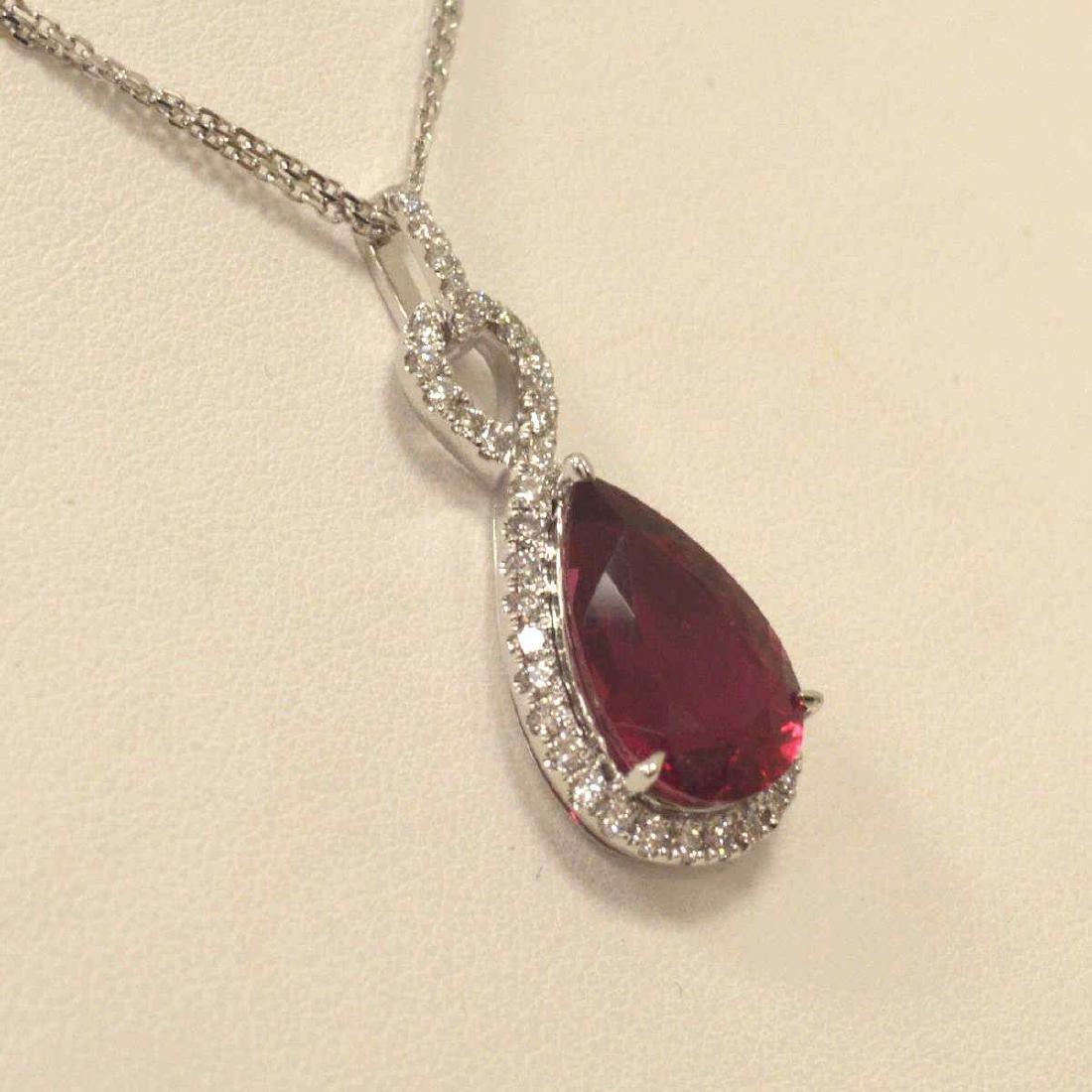 18kt white gold tourmaline and diamond pendant - 2