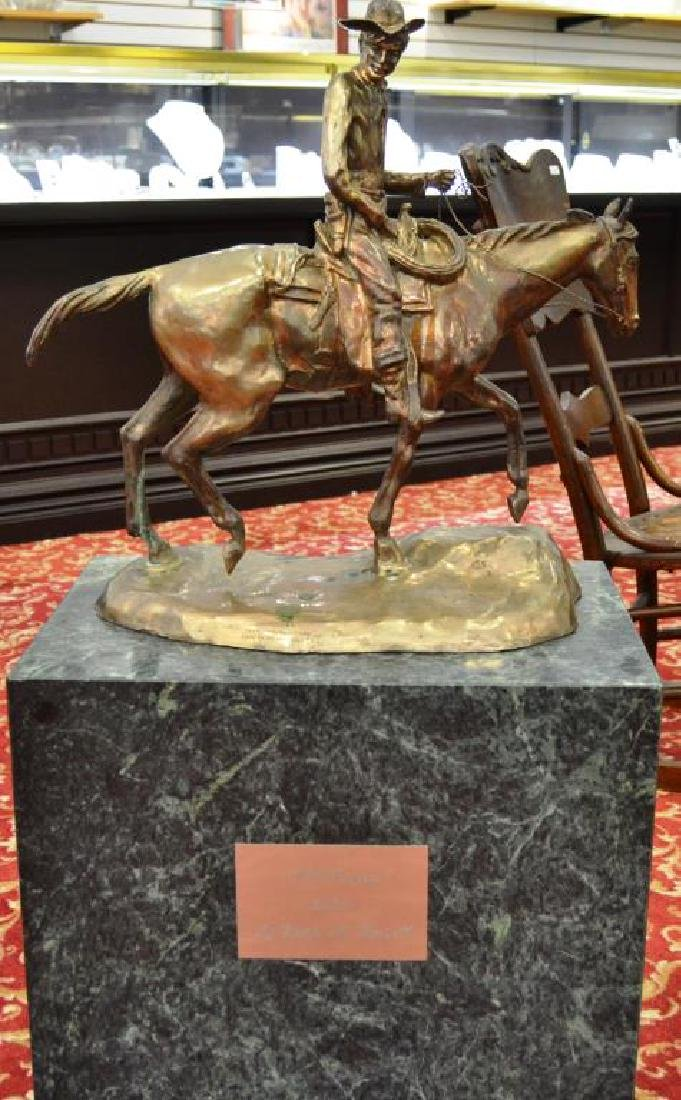 """After C.M Russell Silver """"Will Rogers"""" Statue"""