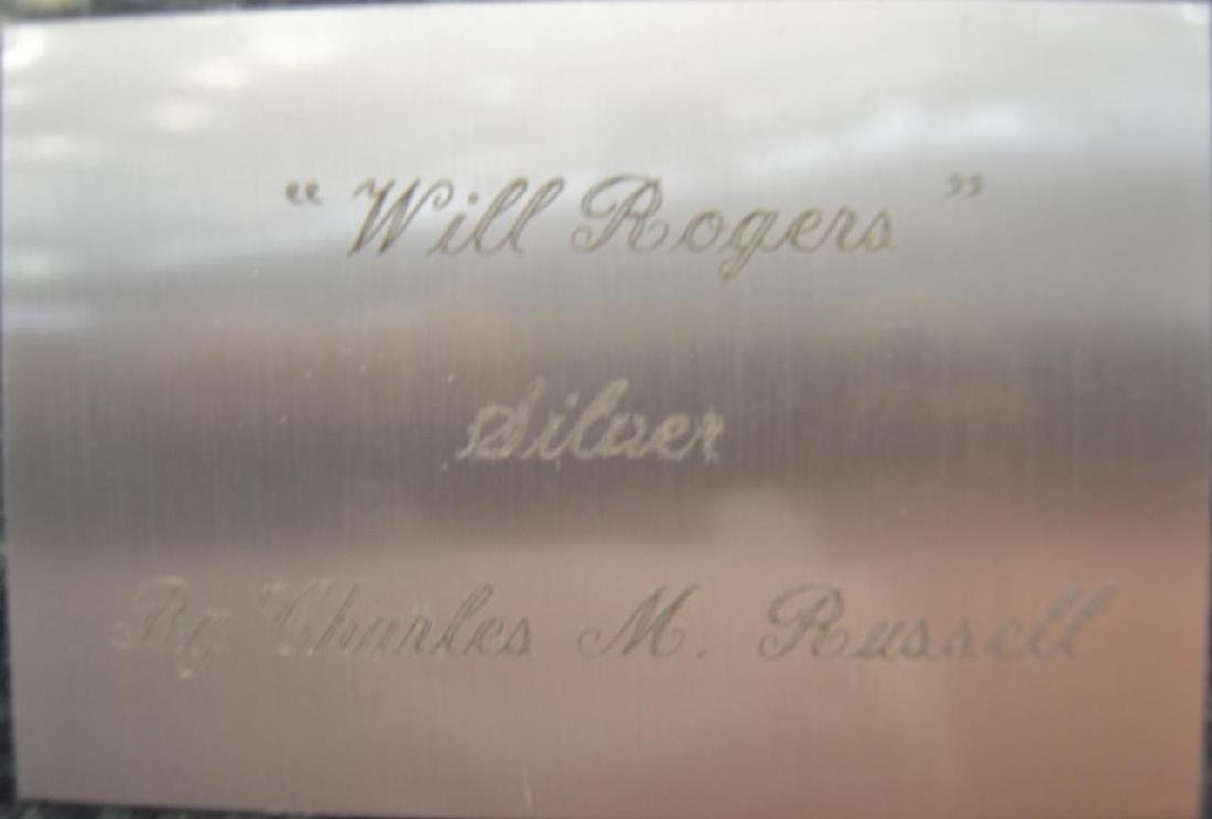 """After C.M Russell Silver """"Will Rogers"""" Statue - 3"""