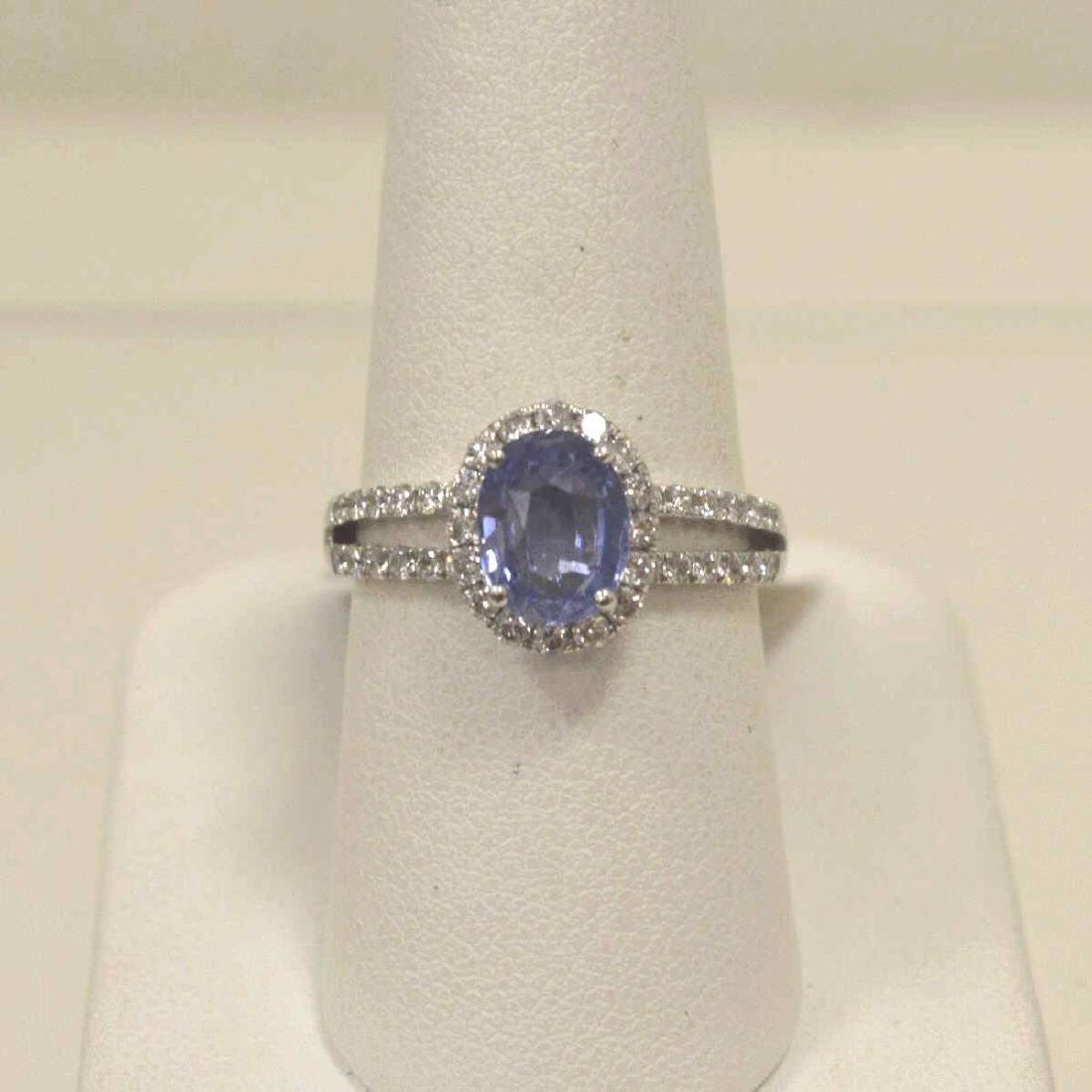 Platinum unheated sapphire and diamond ring