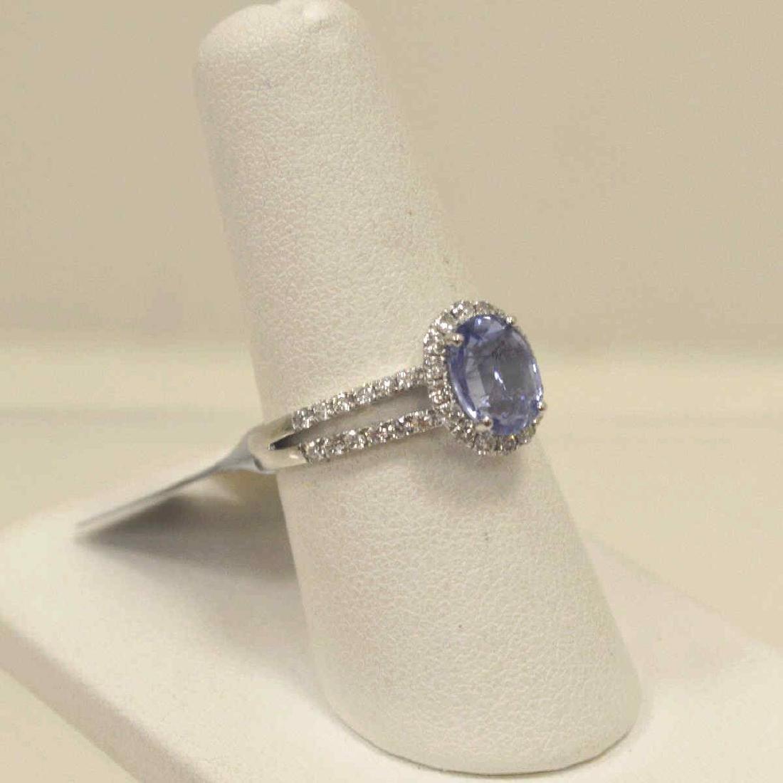 Platinum unheated sapphire and diamond ring - 2