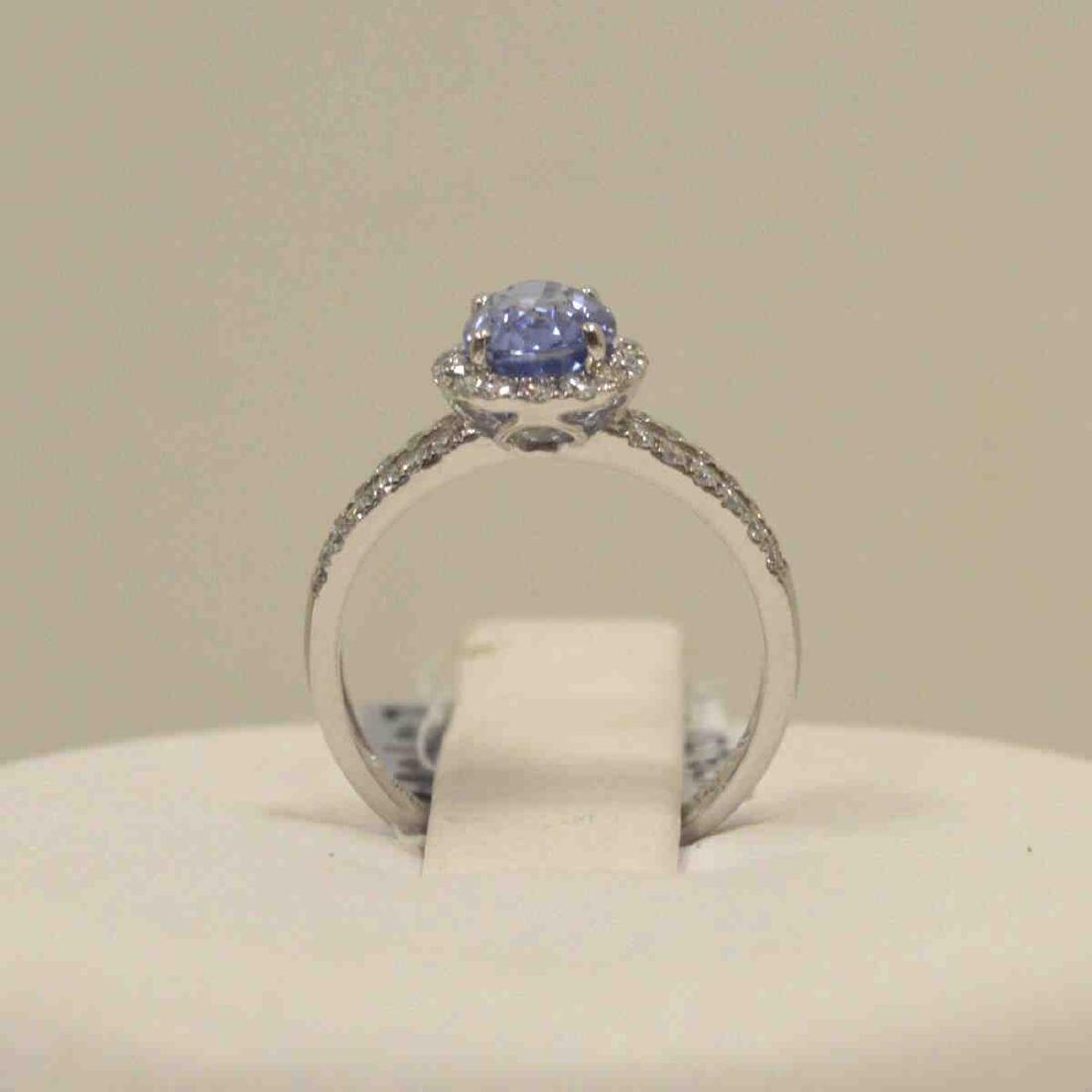 Platinum unheated sapphire and diamond ring - 3