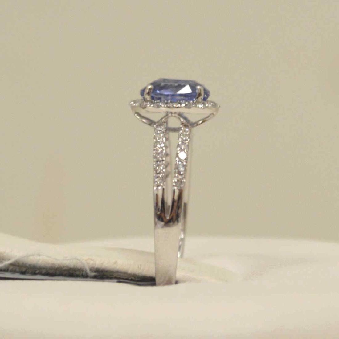 Platinum unheated sapphire and diamond ring - 4