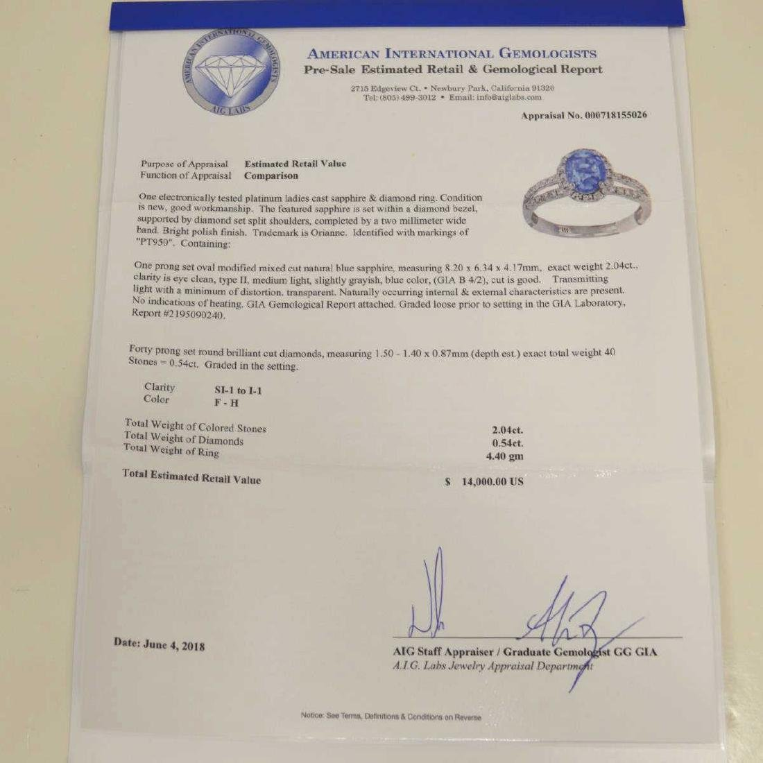 Platinum unheated sapphire and diamond ring - 7