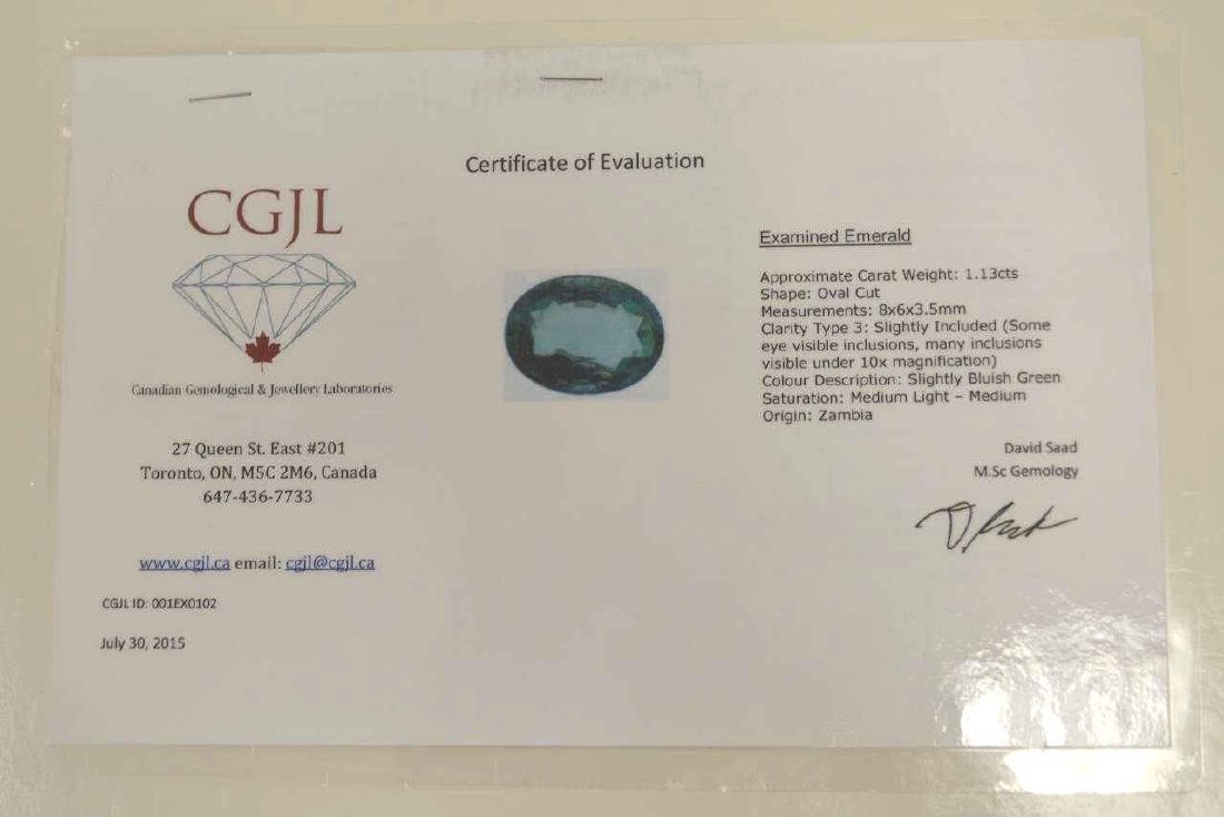 Loose 1.13ct oval cut emerald - 3
