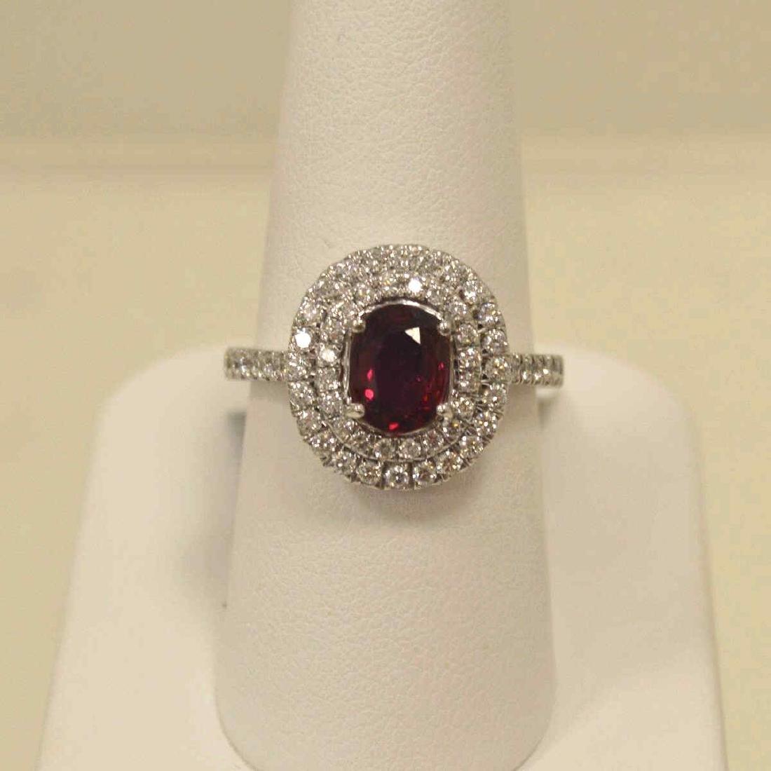 Platinum unheated ruby and diamond ring