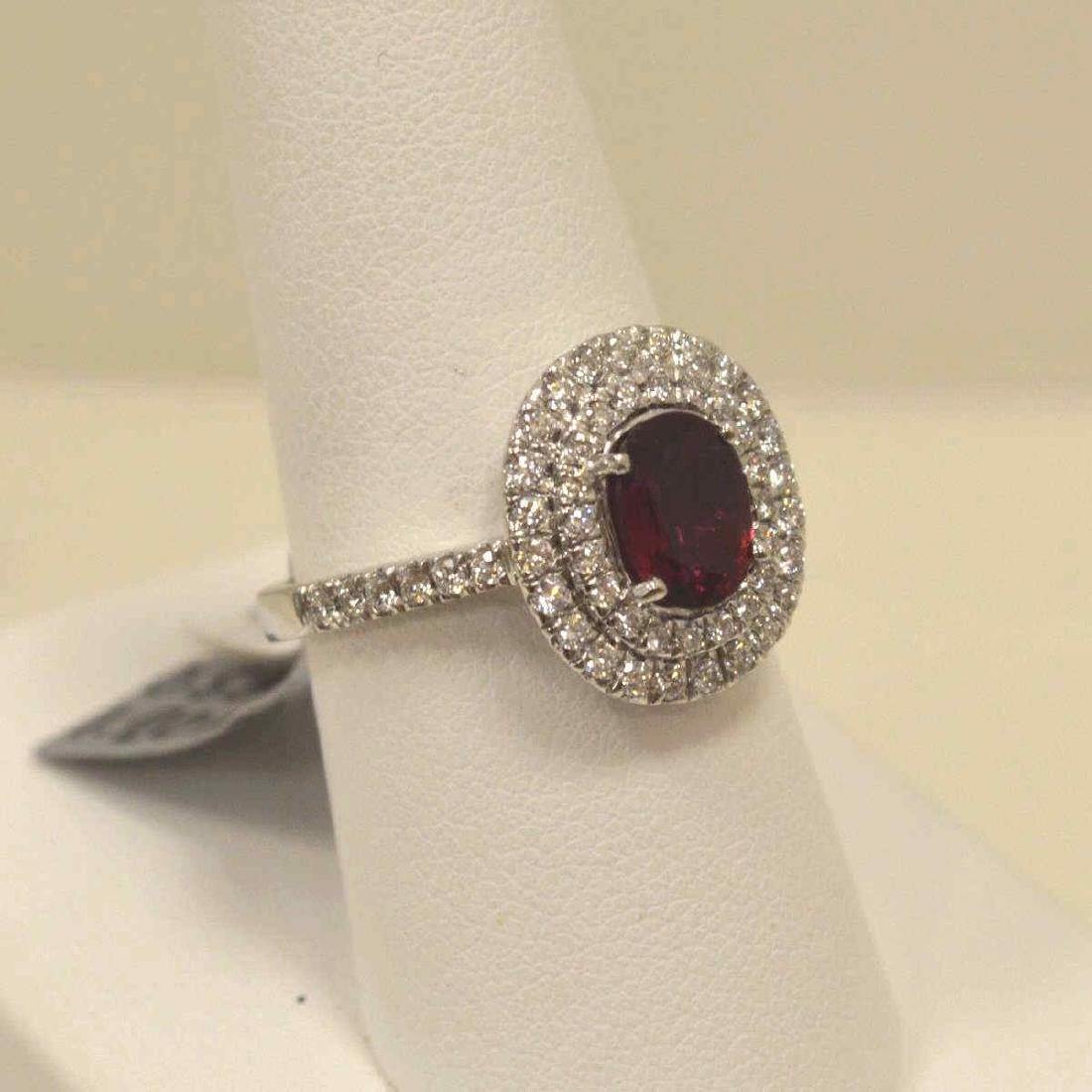 Platinum unheated ruby and diamond ring - 2