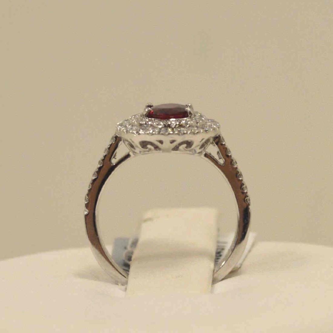 Platinum unheated ruby and diamond ring - 3