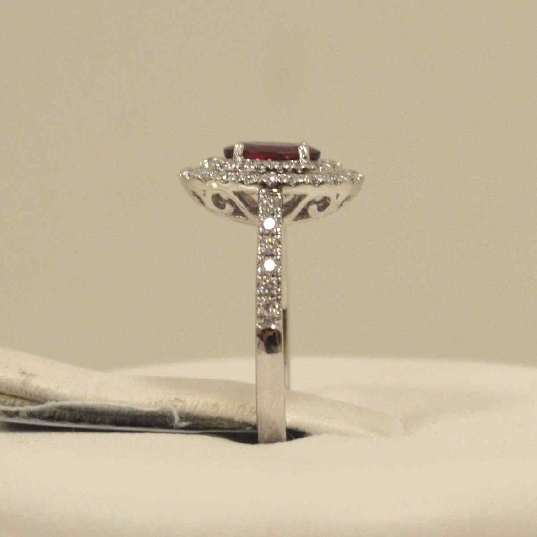 Platinum unheated ruby and diamond ring - 4