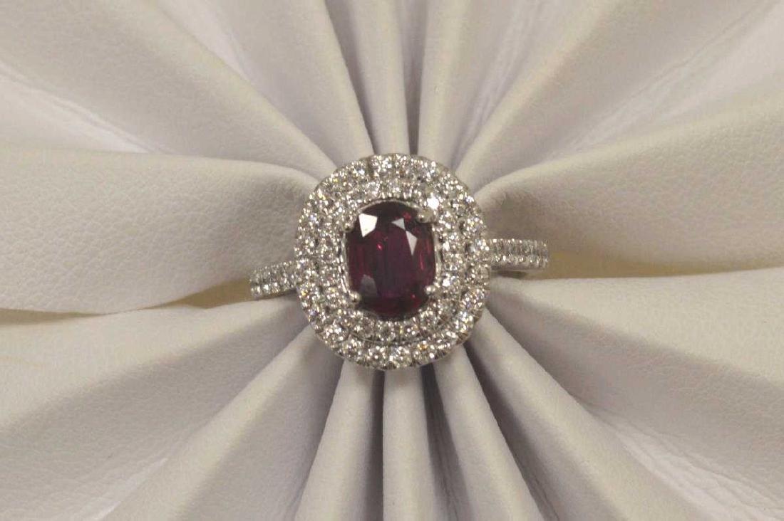 Platinum unheated ruby and diamond ring - 5