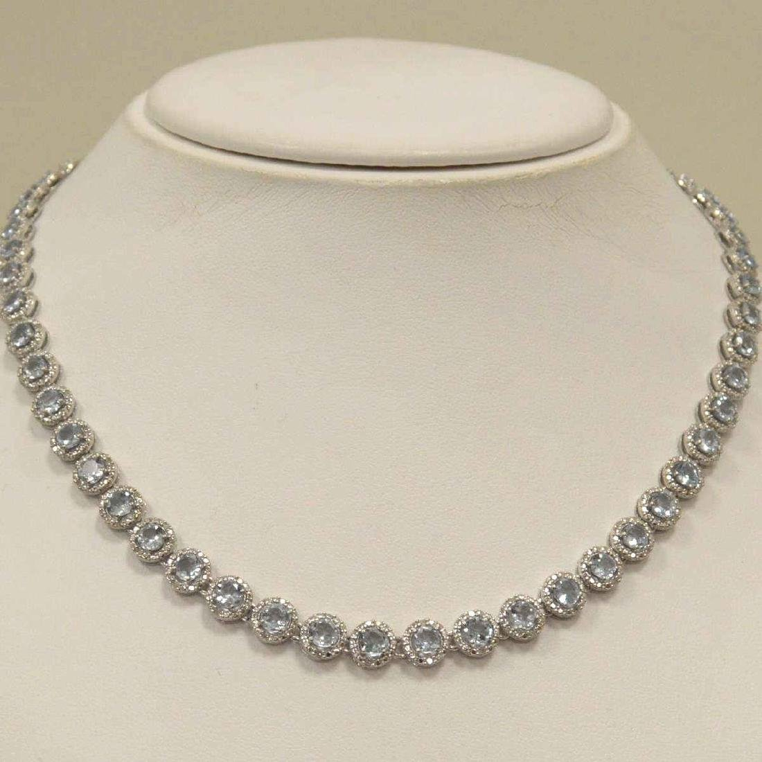 Sterling Silver aquamarine and diamond necklace