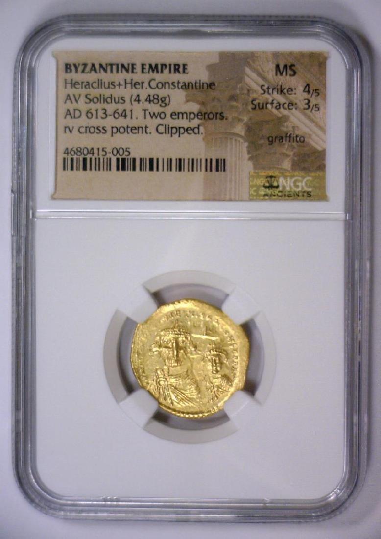 Heraclius BYZANTINE 613 AD Gold AV Solidus NGC MS