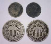 Lot of 4 Three Cent Silver  Shield Nickels