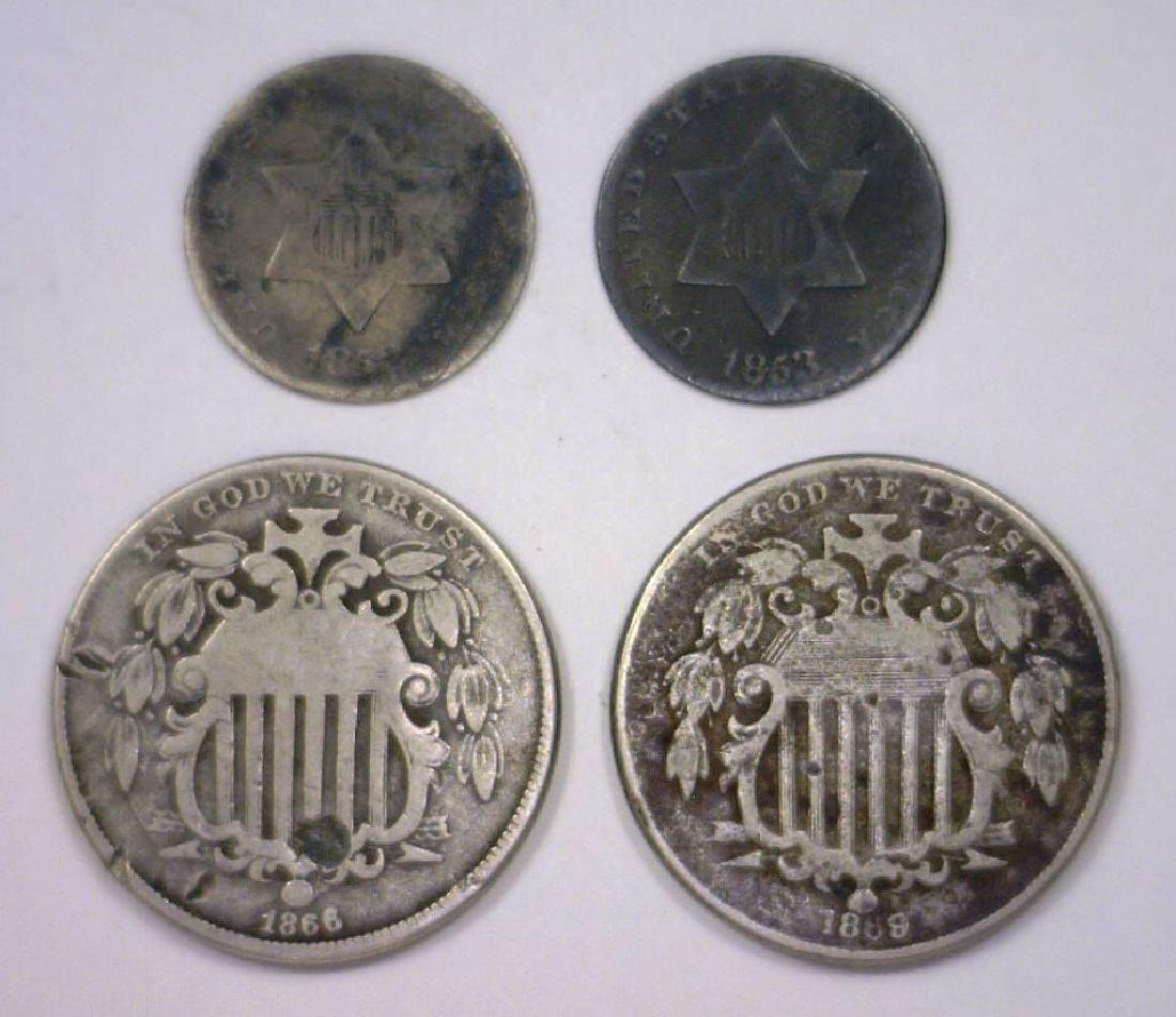 Lot of 4 Three Cent Silver & Shield Nickels